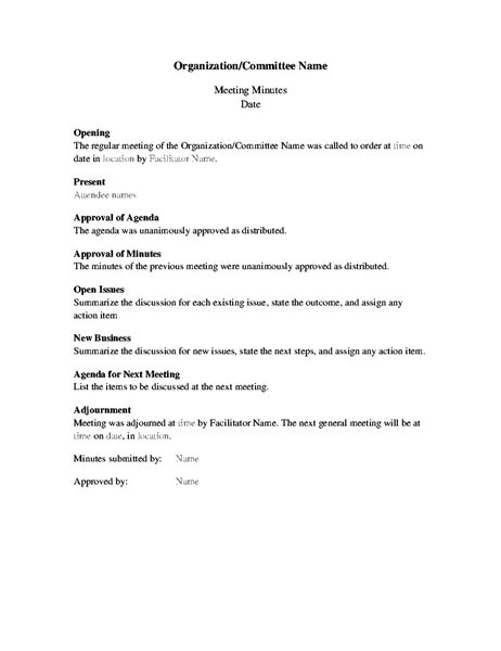 formal meeting minutes template delli beriberi co