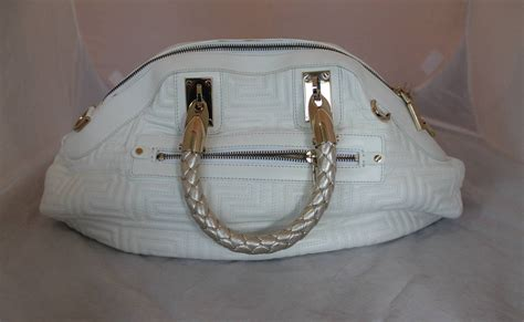 With Versace Purse by Versace Couture White Quilted Leather Handbag With Gold