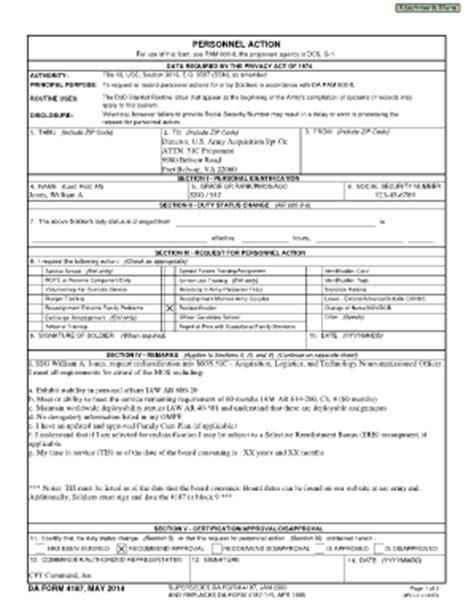 da form 4187 examples related keywords da form 4187