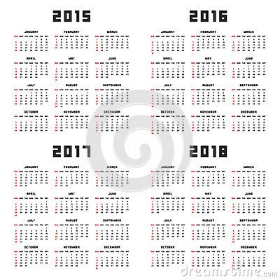 Uruguay Calend 2018 Calendar 2015 2016 2017 2018 Stock Vector Image 46283377