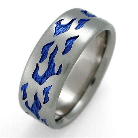 essex titanium ring with flames titanium wedding rings