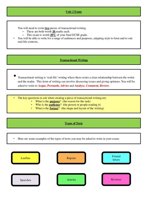 layout of a report english revision booklet for gcse english unit 2 exam