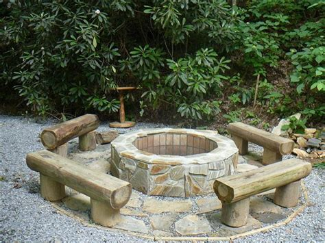 Log Seats Google Search Dreamview Cabin Vacation Firepit Seating
