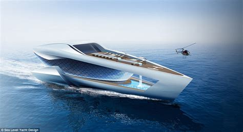 swan boats monterey cf8 superyacht has a pool in a hole and an eight car