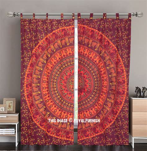 tapestry curtains sale maroon yellow elephants boho mandala circle tapestry