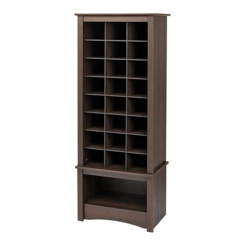 buy shoe storage shop prepac furniture 24 pair espresso wood shoe cubbie