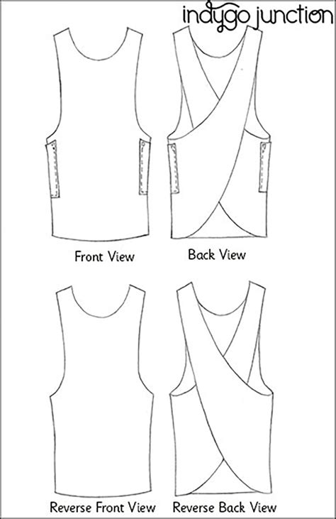 sewing pattern layout indygo junction ij1132 crossback reversible apron