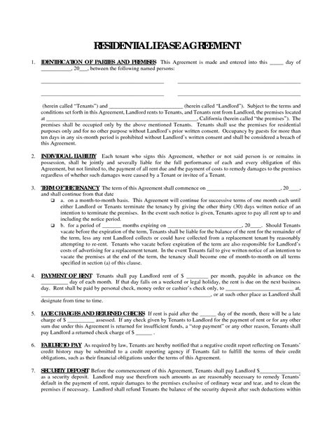 Free Printable Residential Lease Agreement Form Sle Helloalive Rental Lease Template Free