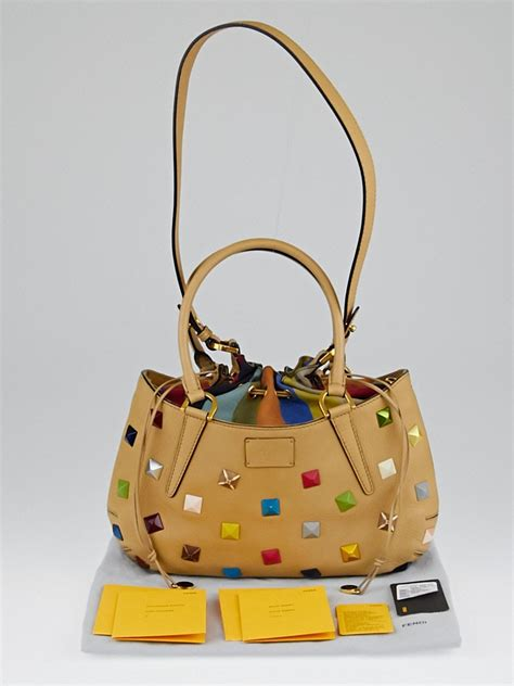 Fendis Small B Bag by Fendi Milk Calfskin Leather Multicolor Studded Small B