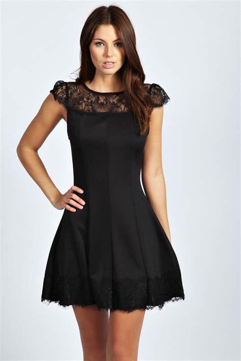 Panel Sleeve Dress boohoo womens lace panels cap sleeve skater