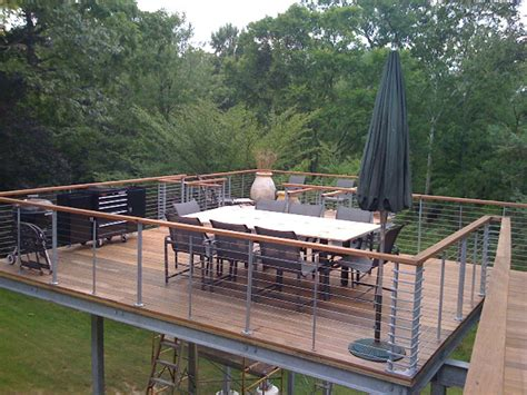 Patio Railings Designs by Raised Deck Tokyo Style Cable Railings Images Outdoor