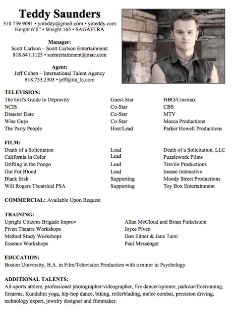 Actors Resume actors resume exle plusbigdealcom uc5maf2t pinteres