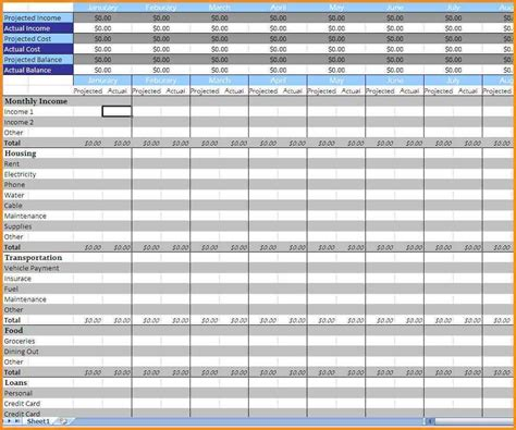 monthly expenses spreadsheet template excel monthly