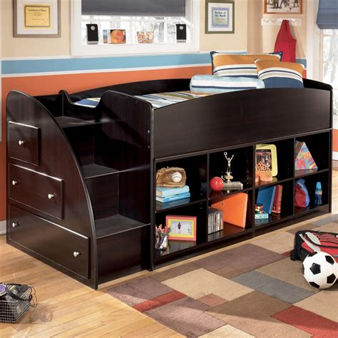 twin loft bed with storage ashley signature design embrace twin loft bed with left storage steps and bookcases