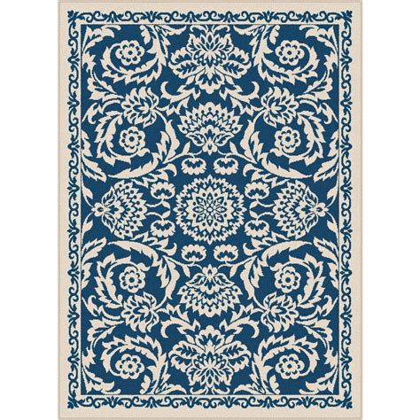 10 X 14 Outdoor Rug Tayse Rugs Basile Navy 7 Ft 10 In X 10 Ft 3 In Indoor Outdoor Area Rug Gct1014 Nvy 8x10