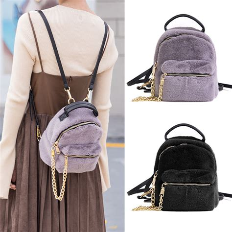 Convertible Mini Shoulder Bag convertible small mini faux fur backpack rucksack shoulder
