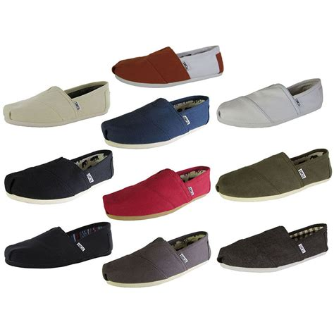 toms mens shoes toms mens classic canvas slip on casual loafer shoe ebay