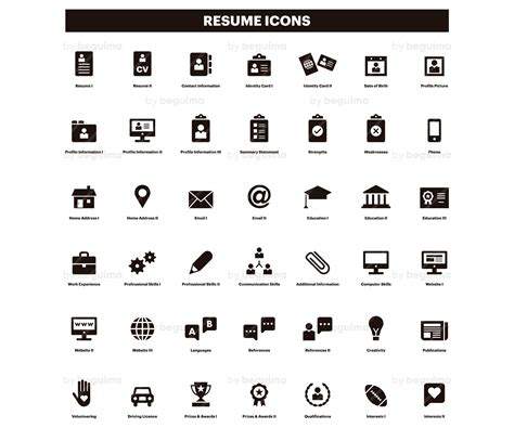 Resume Icons by Resume Icons Cv Clip Curriculum Clipart Set Of