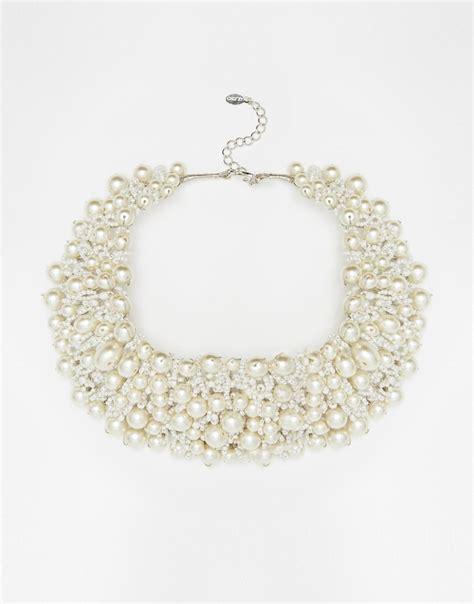 aldo wamblee pearl statement necklace in white lyst