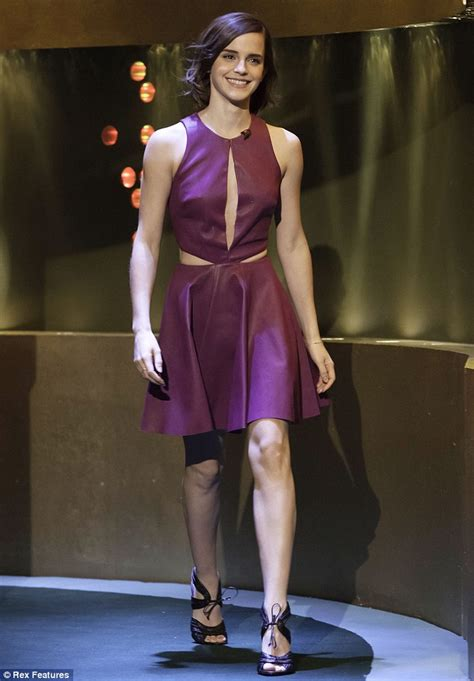 emma watson tv shows emma watson shows off risque purple leather slit dress on
