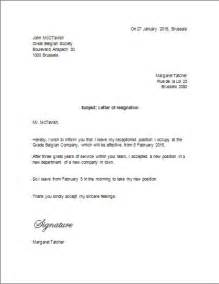 Microsoft Word Resignation Letter Template by Sle Letter Of Resignation To Belgium Resignation Letter