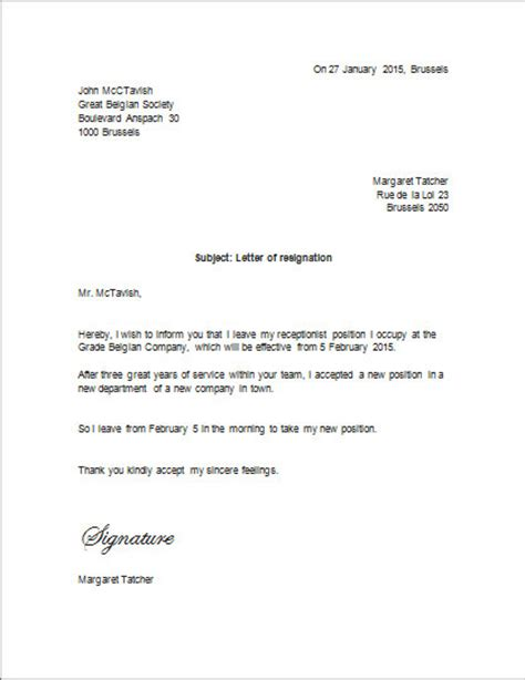 Resignation Letter Format Ms Word Sle Letter Of Resignation To Belgium Resignation Letter