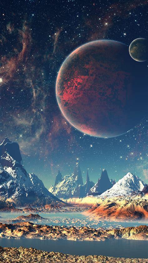 aq dream space world mountain sky star illustration