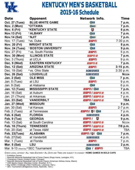 basketball calendar template 25 best ideas about kentucky wildcats schedule on