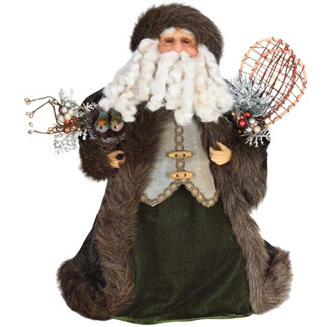 shop roman 17 in fabric santa christmas tree topper at