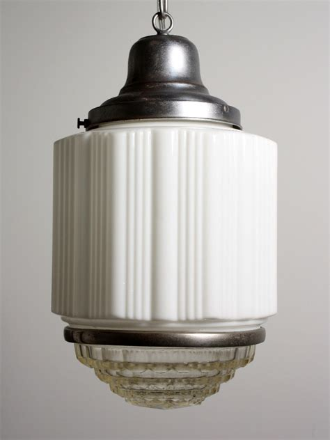 Antique Art Deco Skyscraper Pendant Light With Two Part Antique Lights For Sale