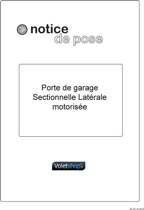 notice porte de garage sectionnelle lat 233 rale motoris 233 e pdf