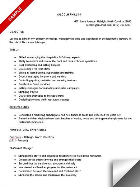 Restaurant Resume Objective by Restaurant Manager Resume Sle Limeresumes