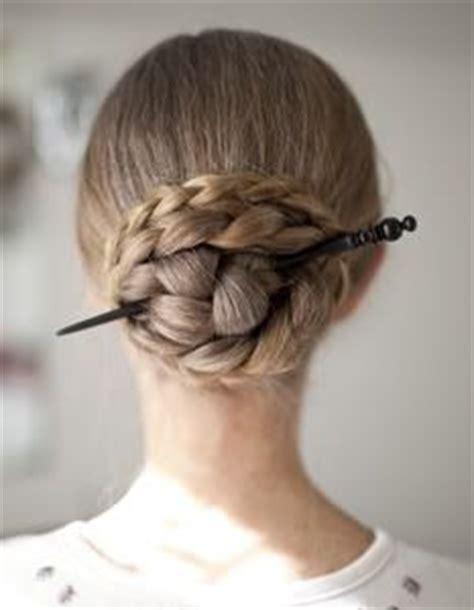 hair plait with chopstick another braided hair stick bun using only 1 braid