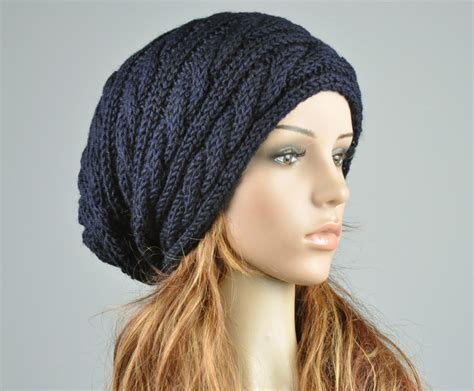 cable knit slouchy hat pattern knit hat navy hat slouchy hat cable pattern hat by