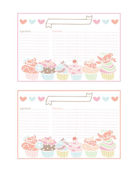 cupcake templates for cards cupcake recipe cards and more all free the cottage market