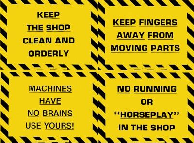 safety for woodwork at school plastic laminated safety sign quot machines no brains