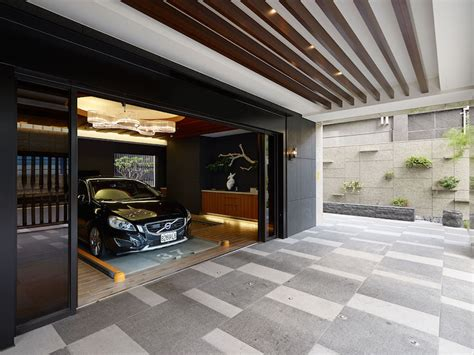 garage house designs taipei apartment building lounge area by yu ya ching