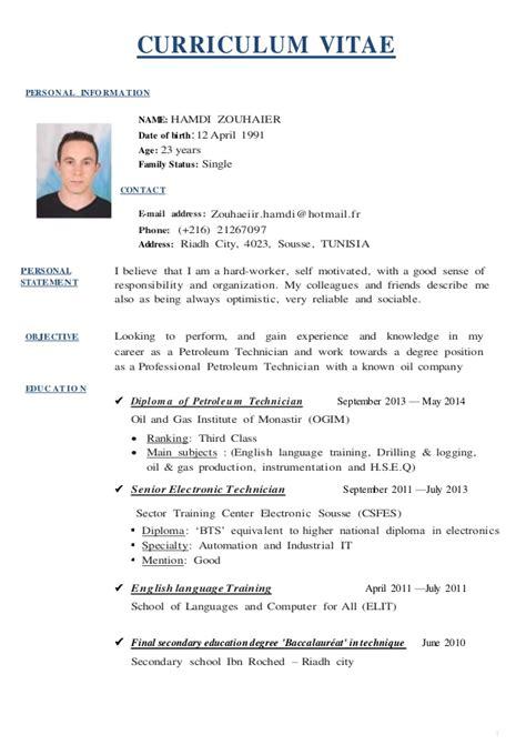 Resume English Example by Cv English