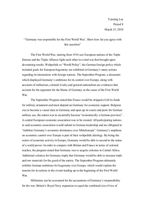 1 Page Essay Describe How Ww1 Was A Costly And Global War by Origins Of Wwi Essay