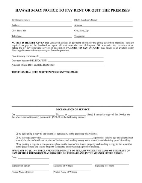Free Hawaii 5 Day Notice To Quit Form Non Payment Of Rent Pdf Eforms Free Fillable Forms Eviction Notice Hawaii Template