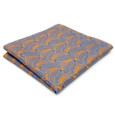 Silk Bigsize paisley orange blue handkerchiefs neckties silk hanky pocket square silk big size wedding in