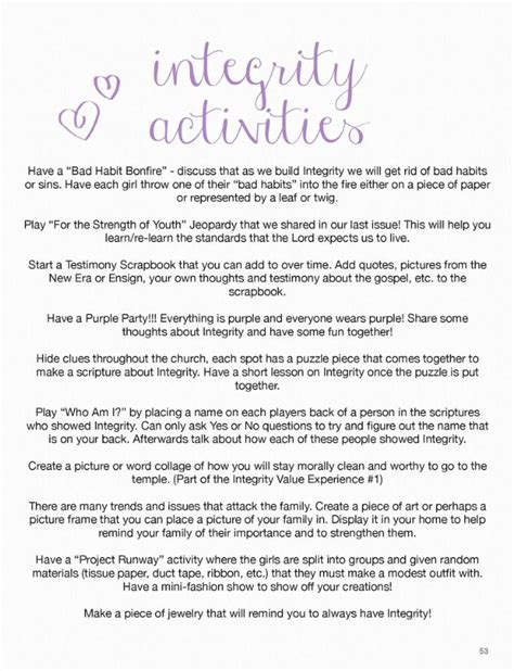 Honesty Worksheets For Adults by Stand Shine Magazine Integrity Yw Activity Ideas Lds