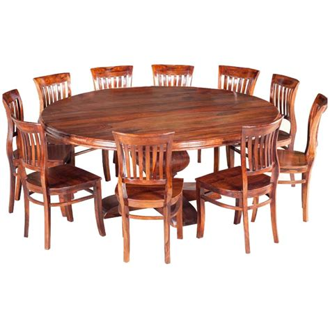 round dining room tables for 10 sierra nevada rustic solid wood large round dining table