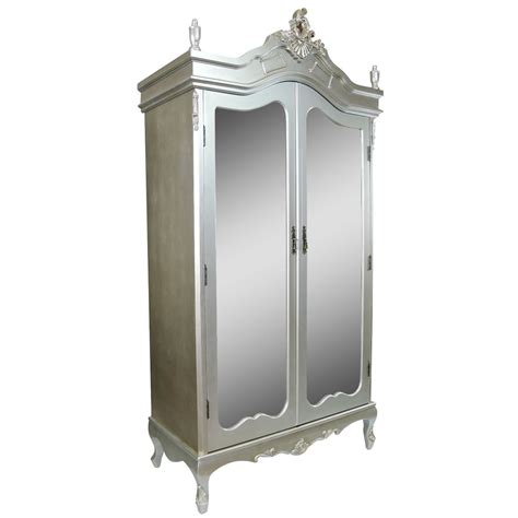 french antique silver double mirrored door armoire