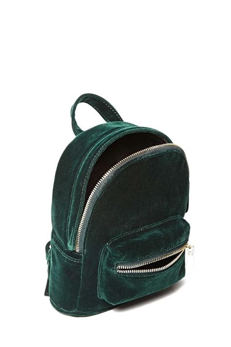 Velvet Mini Backpack lyst forever 21 velvet mini backpack in green