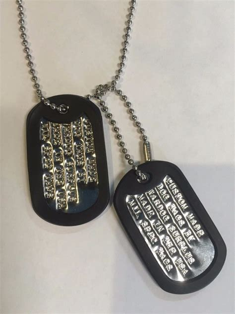 navy tags personalized tags set custom with your info necklace id tag us ebay