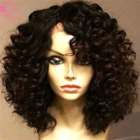 brazilian virgin human hair wigs for black women deep wave lace brazilian virgin curly human hair bob wig unprocessed