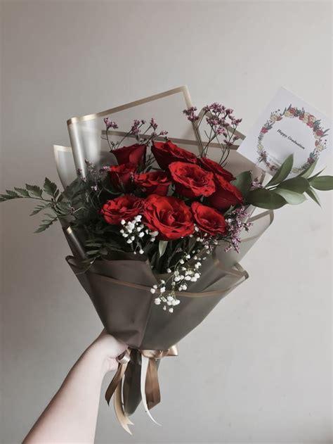 jual hand bouquet buket bunga mawar merah segar jw