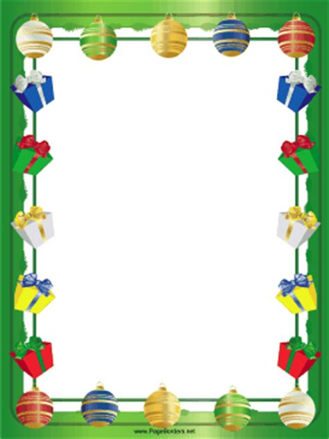 gifts packages and ornaments christmas border