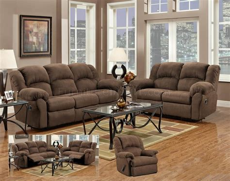 aruba chocolate modern reclining sofa loveseat set w options